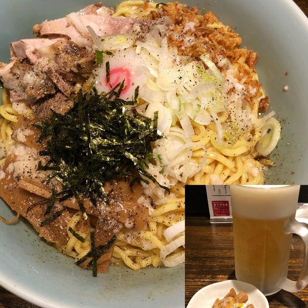「油そば+生ビール」@新潟長岡らぁめん 安ざわ食堂の写真