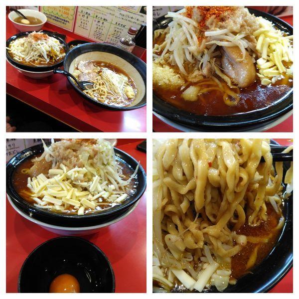 「辛いラーメン3辛500申請+カレー+生卵+チーズ」@麺屋 桐龍の写真