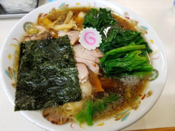 「青島ラーメン チャーシュー ほうれん草」@青島食堂 秋葉原店の写真